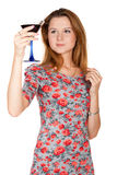 Beautiful young woman with alcoholic drink Stock Photo