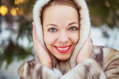Woman in winter park Royalty Free Stock Photography