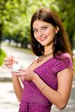 Beautiful Young Woman And Coffee Royalty Free Stock Photos