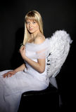 Beautiful Young Woman with Angel Wings Stock Images