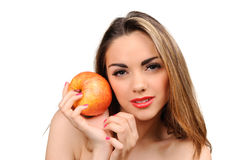 Beautiful young woman with apple Royalty Free Stock Photography