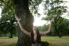 Beautiful young woman with arms raised under a tre Royalty Free Stock Images