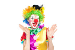 Beautiful young woman as clown. Colorful portrait Royalty Free Stock Photo