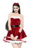 Beautiful young woman as cute santa girl Royalty Free Stock Images