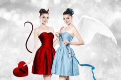 Free Beautiful Young Woman As Devil And Angel Royalty Free Stock Photography - 50126097