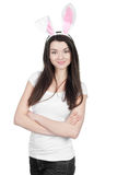 Beautiful young woman as easter bunny Royalty Free Stock Photography