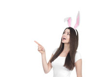 Beautiful young woman as easter bunny stock images