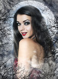 Beautiful young woman as sexy vampire. In red dress - halloween portrait Royalty Free Stock Photos