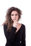 Beautiful young woman asking for silence Stock Photos