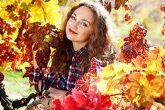 Beautiful young woman in autumn grape vineyard Stock Photos