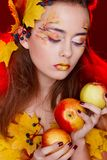 Beautiful young woman with autumn make up posing in studio over royalty free stock photo