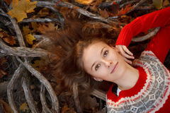 Beautiful young woman in autumn park stock image