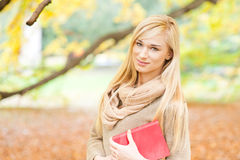 Beautiful young woman - autumn portrait stock photo