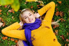Beautiful young woman - autumn portrait stock images