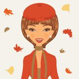 Beautiful young woman in autumn. Vector illustration of beautiful young woman in autumn royalty free illustration