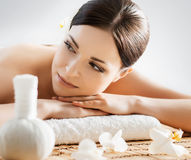 Beautiful young woman on a back massage procedure Royalty Free Stock Photos