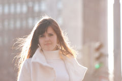 Angel. Beautiful young woman backlit, like an angel Stock Image
