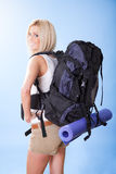 Beautiful young woman with backpack Stock Photography