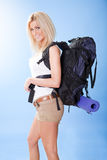 Beautiful young woman with backpack Royalty Free Stock Images