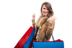 Beautiful young woman with bags at shopping Stock Image