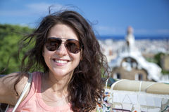 Beautiful young woman in Barcelona Stock Photos