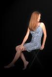 Beautiful Young Woman Barefoot In Snakeskin Dress Stock Photos