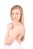 Beautiful young woman after bath with towel isolated on white background Royalty Free Stock Images