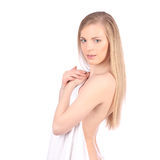Beautiful young woman after bath with towel isolated on white background Stock Image