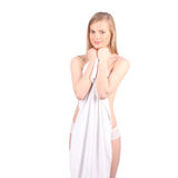 Beautiful young woman after bath with towel isolated on white background Stock Photo