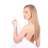 Beautiful young woman after bath with towel isolated on white background Stock Photography