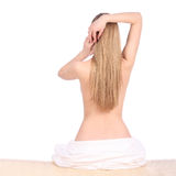 Beautiful young woman after bath with towel isolated on white background Royalty Free Stock Photography