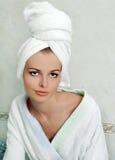 Beautiful young woman in bathroom Stock Photo