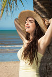 Beautiful young woman on the beacg Royalty Free Stock Images