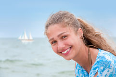 Beautiful young woman on the beach Royalty Free Stock Photography