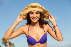 Beautiful Young Woman at the Beach Stock Images