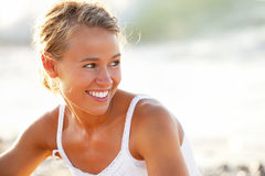 Beautiful young woman on the beach. Close-up of a beautiful young woman on the beach Stock Photography