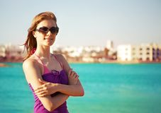 Beautiful young woman on the beach Royalty Free Stock Image