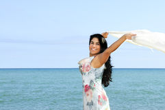 Beautiful young woman at beach Stock Photos