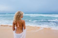 Beautiful young woman on beach Royalty Free Stock Image