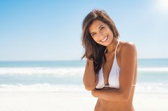 Beautiful young woman at beach Royalty Free Stock Photography
