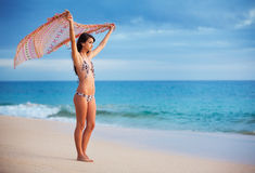 Beautiful Young Woman on the Beach at Sunset Royalty Free Stock Photo
