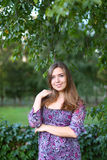 Beautiful young woman beautiful smiling and posing for photos an Royalty Free Stock Image