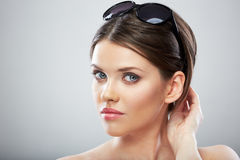 Beautiful young woman beauty close up face portrait Stock Photography