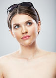Beautiful young woman beauty close up face portrait Royalty Free Stock Images