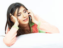 Beautiful young woman in bed. Stock Images