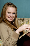 Beautiful Young Woman with  bible Stock Photo