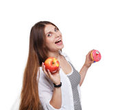 Beautiful young woman with big red apple isolated on white Royalty Free Stock Photo