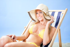 Beautiful young woman in bikini Stock Photography
