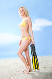 Beautiful young woman in bikini with snorkel Stock Photography