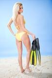 Beautiful young woman in bikini with snorkel Stock Photography